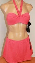 New Coco Reef Swimsuit Bikini 2pc set Sz M 32/34C Coral Strapless Skirt - $48.26
