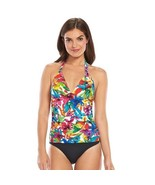 Chaps Floral Halter Body Sculptor & Tummy Slimmer One-Piece Swimsuit Wom... - $34.64