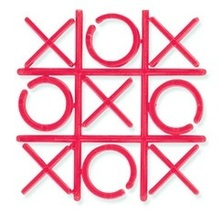 One Mini Tic Tac Toe Game 2 inch x 2 inch Plastic Red - $2.99