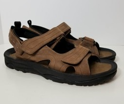PROPET MEN'S SPORT SANDALS SIZE 13 Brown Leather Velcro M0015 BLK Walking  - $26.27 CAD