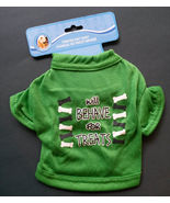 """DOG SHIRT Green Knit Will Behave For Treats Small Tshirt 9"""" NEW - $4.99"""