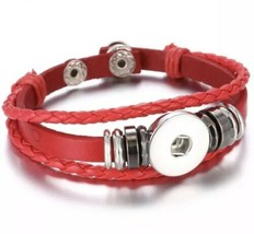 Triple Strand Black Braided Red Leather Snap Button Charm Bracelet ~ New - $10.39