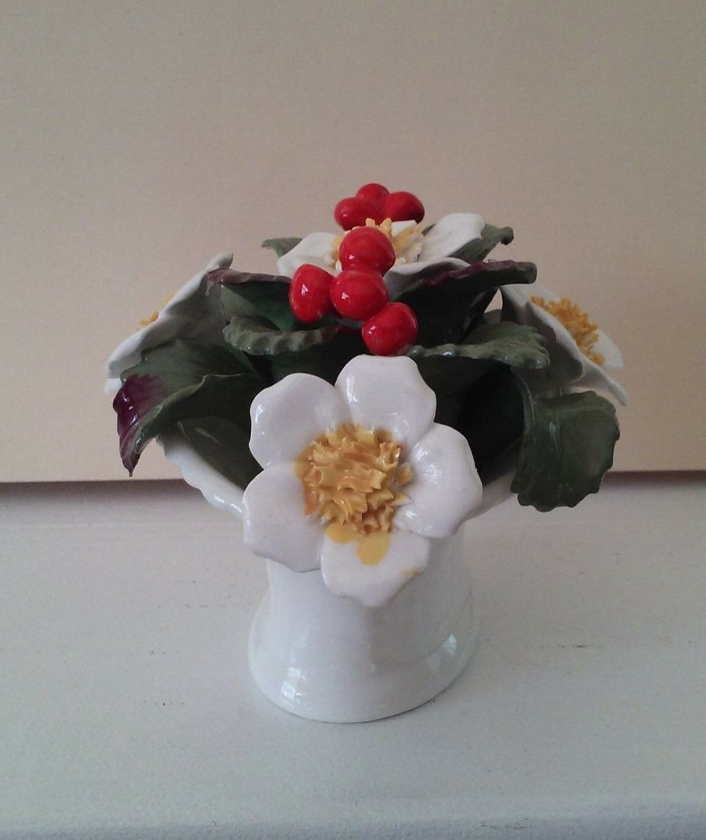 Vintage Aynsley Bone China December Christmas Rose Basket hand painted bouquet image 2