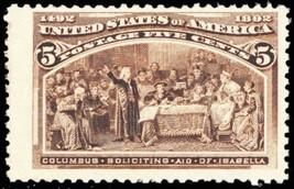 234, Mint VF NH 5¢ Columbian Stamp BIG MARGINS Cat $160.00 - Stuart Katz - $50.00