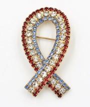 Vintage USA Patriotic Red White Blue Rhinestone Ribbon Brooch - $9.89