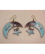 STAR and MOON Vintage Artisan EARRINGS - Blue and Purple Enameled Copper... - $85.00