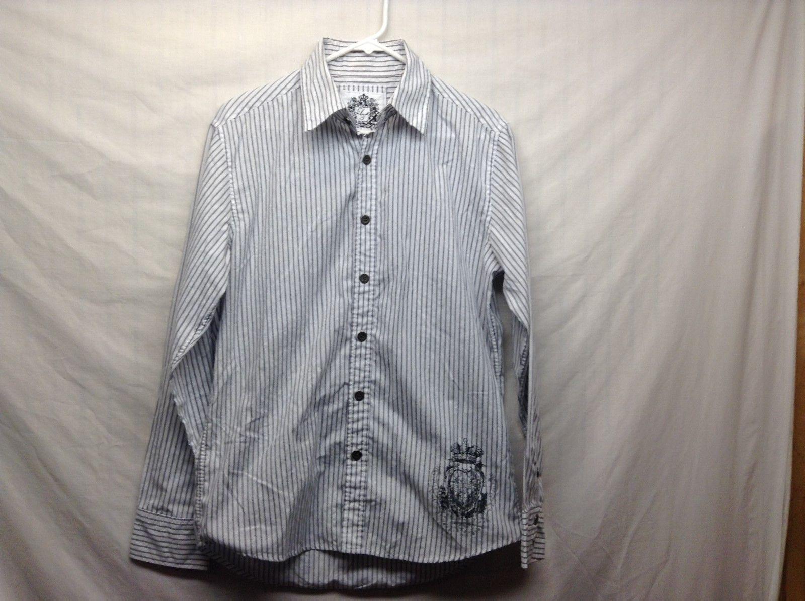 Men's Level Ten White w Gray Vertical Stripes Long Sleeve Shirt Sz M