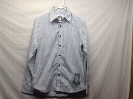 Men's Level Ten White w Gray Vertical Stripes Long Sleeve Shirt Sz M
