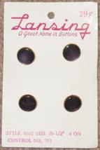 """BUTTONS LANSING 4 PURPLE PLASTIC BUTTONS SIZE 20 #8552 1/2"""" VINTAGE - $3.00"""