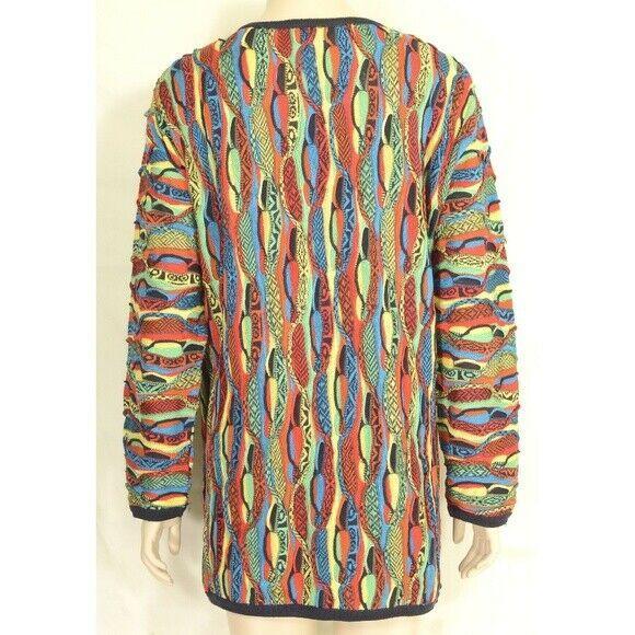 COOGI-sweater-SZ-M-100-silk-cardigan-brilliant-colorful lightweight image 5