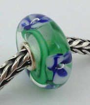Authentic Trollbeads Murano Glass Blue Flower Bead Charm, 61190, New - $23.74