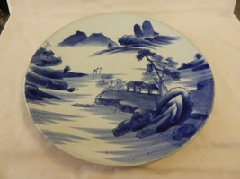 Vintage Oriental Ceramic Plate Blue and White House with Trees, Mountains - $39.59