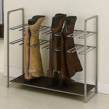 Metal Boot Organizer Stackable Shoe Storage Rack 6 Pair Boots Stand Clos... - $54.35