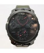 New DIESEL DZ7358 Machinus 4 Time Zones, Black Denim Leather Men Watch - $209.98
