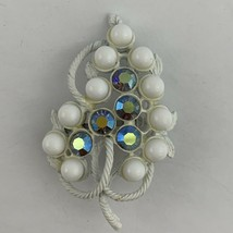 Vintage White Painted Aurora Borealis AB Rhinestone Brooch Pin Floral Le... - $12.82