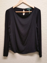 Lauren Ralph Lauren Petite Long Sleeves Polyester Top 201189202001 Blk PL - $36.10