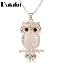 Gallant Sparkling Owl Crystal Charming Flossy Necklaces & Pendants Necklace - $9.99