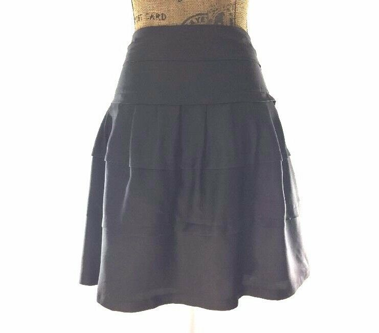 10 Large Skirt Gray 100% Silk VICTOR ALFARO Fit Flare Tier Layer Trendy Work LN image 2