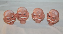 4 Vintage Christmas Santa Claus Heads for hobbyist , make dolls - $12.86