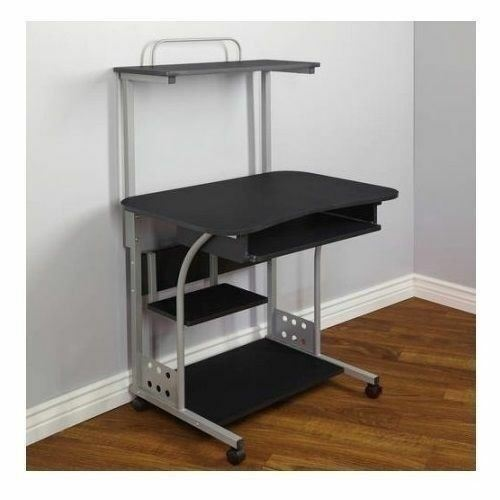 Black Mobile Computer Tower Desk Printer Shelf Laptop Table Top Home Office Cart image 2