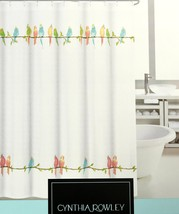 Cynthia Rowley Birds on Wire Fabric Shower Curtain Multicolored Birds Pa... - $44.50