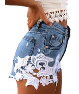 Ripped High Waisted Denim Shorts w Crochet Lace Trim Size 8 10 12 14 16 ... - $29.99