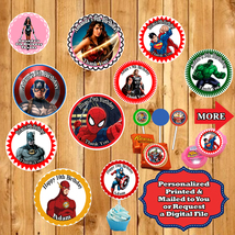 Superhero Avengers Birthday Stickers Round Labels 1 Sheet Personalized - $5.75