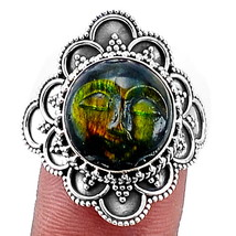 Face Carved Labradorite 925 Sterling Silver Ring Jewelry s.8 SDR2403 - $33.64