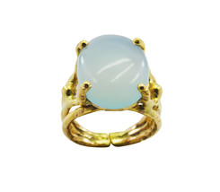 adorable Chalcedony Gold Plated Blue Ring Natural supply US gift - $20.99