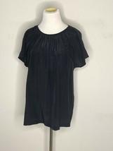 Kate Spade Womens Blouse Top Short Sleeve Black Tie Sz 10 - $29.95