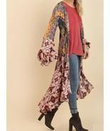 UMGEE Boho Long Kimono Cardigan Duster Open Front Bell Sleeve Maxi Jacket  - $42.00
