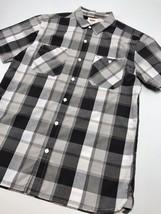 Men's Levi's Black | Grey | White Plaid S/S Button Down Shirt             - $69.00