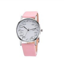 Round Lovely Cartoon Cat Watches Leather Strap Women Casual Wristwatch image 2