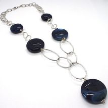 925 Silver Necklace, Agate Blue Striated, Disk, Pendant, Length 50 cm image 3