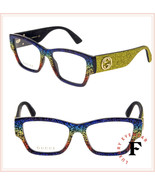 GUCCI 0104 Yellow Rainbow Glitter RX Eyeglasses Optical Frame GG0104O Au... - $333.63