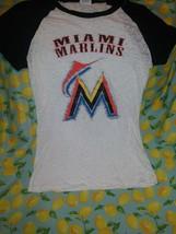Mlb Miami Marlins Sheer T Shirt Women's Sz L baseball ⚾ - $21.78
