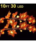30 LED 10ft Maple Leaves Pumpkin String Lights Thanksgiving decor Fall G... - $12.74