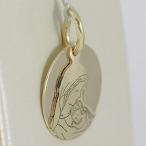 Pendant Medal Round 750 18k Yellow Gold, Mary and Jesus, Double Layer, Satin image 2