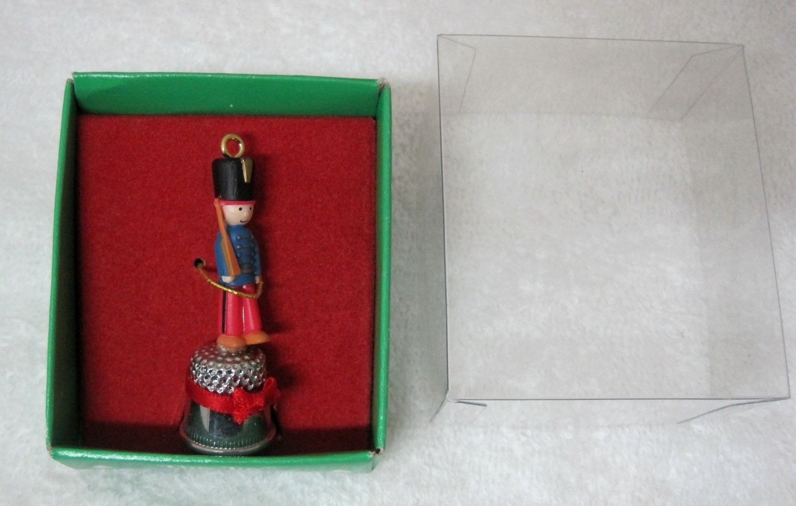 Tiny Toy Thimble Christmas Ornament Enesco 552682 1986 Toy Soldiers Orig Box  - $18.32