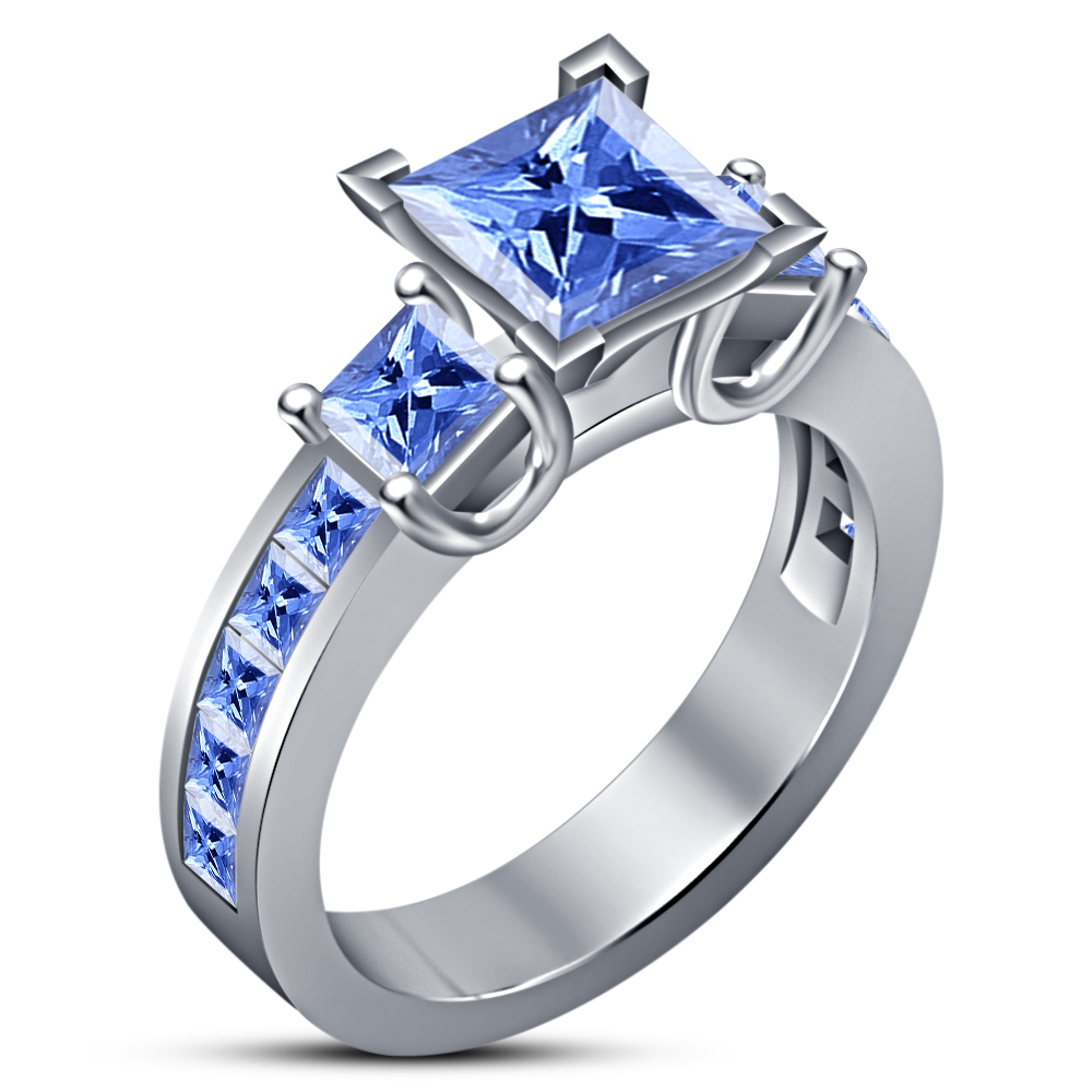14k White Gold Plated 925 Silver Princess Cut Blue Sapphire Fancy Wedding Ring
