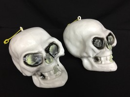 Lot 2 Sun Hill Vtg Blow Mold Plastic Halloween Skulls That Glow In The Dark - $42.53