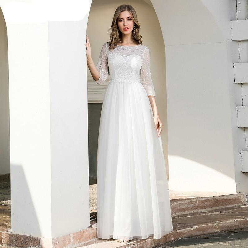 Lusion lace wedding dresses ever pretty ep00719cr a line 3 4 sleeve sequined tulle elegant cream