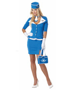 RETRO STEWARDESS FLIGHT ATTENDANT VINTAGE 60's ADULT HALLOWEEN COSTUME M... - $32.37