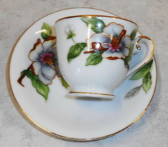 Vintage Demitasse Cup & Saucer Set Dogwood By Roselyn Japan - $39.60