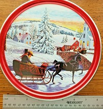 2018 Sam's Choice Butter Cookies Holiday Round Tin Winter Scene Horse Sl... - $10.88
