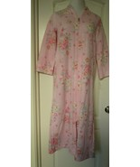Miss Elaine Jacquard Fleece zip robe Pink Floral Print Size Small Style ... - $27.70
