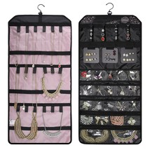 Double-sided Travel Jewelry Organizer Roll up Bag for Earring Necklace R... - $27.57