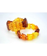 Stretch Lucite Bracelets Pair Faux Amber Shades Glitter Confetti Chunky ... - $49.49