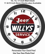 JEEP WILLYS SERVICE SIGN WALL CLOCK-FREE USA SHIP - $28.70+