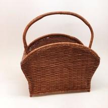 Vintage Wicker Wood Wooden Newspaper Magazine Caddy Storage Basket Rack ... - $19.80